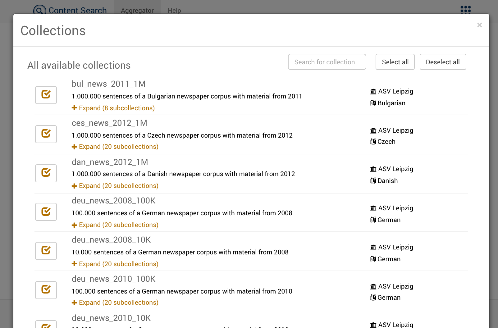 Collections Dialog