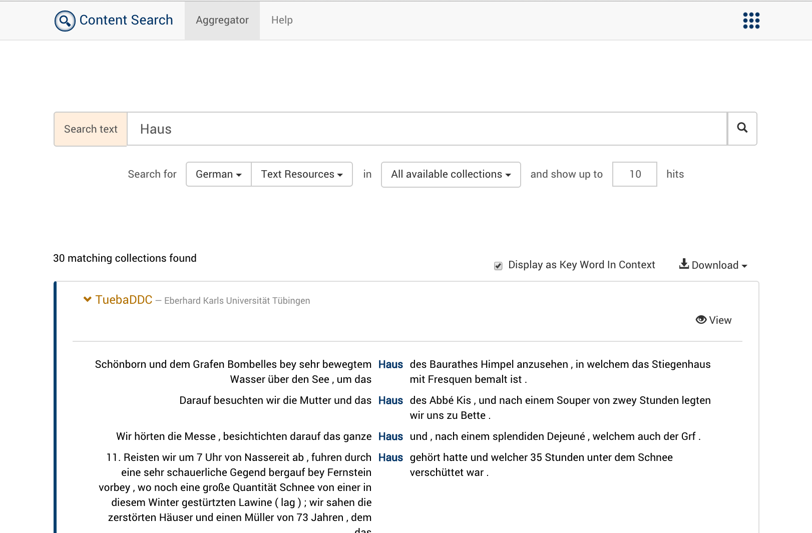 Aggregator Results with Context