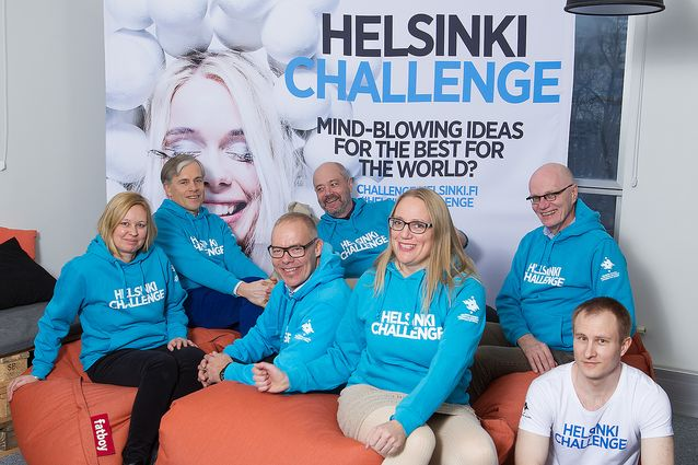 Researcher and Helsinki Challenge semi-finalist Krista Lagus with the Citizen Mindscapes research project team (photo by Linda Tammisto).